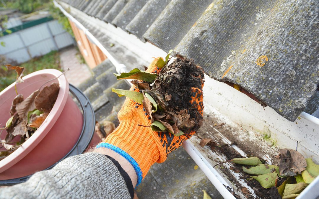 clean your gutters to remove debris and keep water moving away from your home